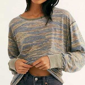 NWT Free People Arielle Tiger Combo Top